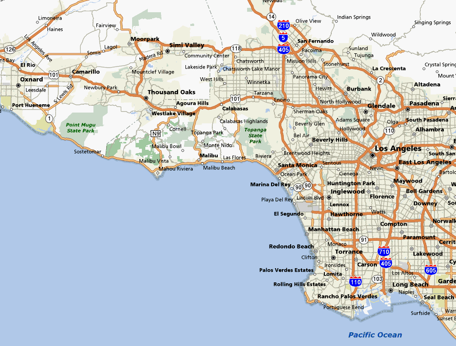 Description Of Bike Rides In Los Angeles County - South california map