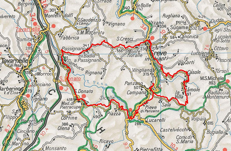 Description of a bike ride between Panzano, San Donato ...