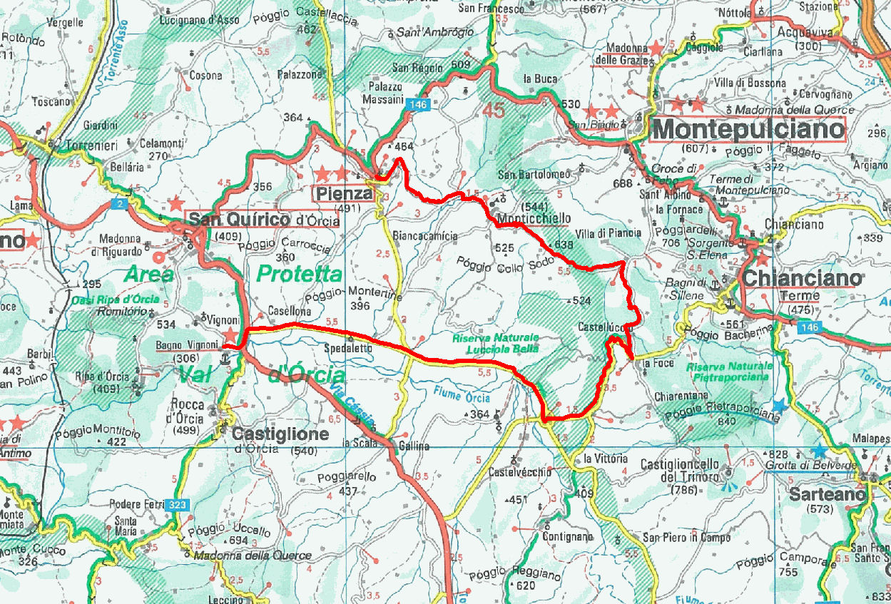 description of a bike ride between bagno vignoni, la foce ... - Bagno Vignoni Map