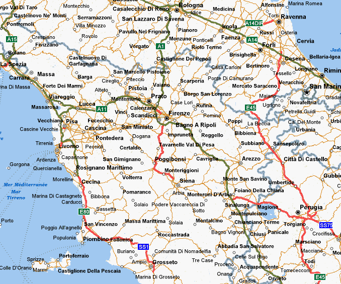 Description Of Bike Rides In Tuscany - Map tuscany